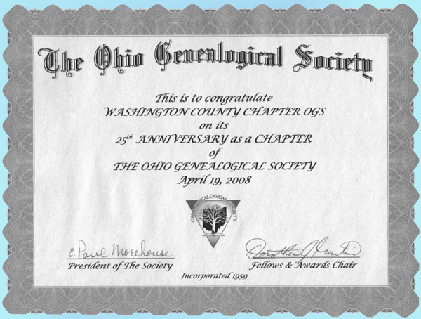 25 years certificate from Ohio Genealogical Society